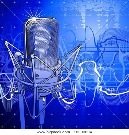 Professional microphone, digital wave & blue technology background