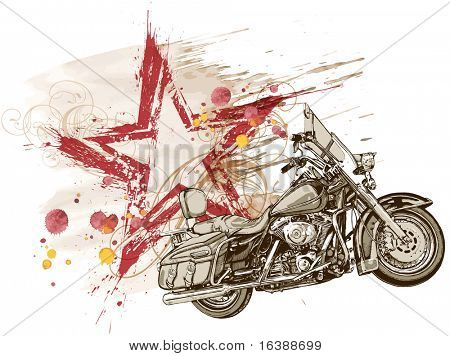 grunge red star & motorcycle