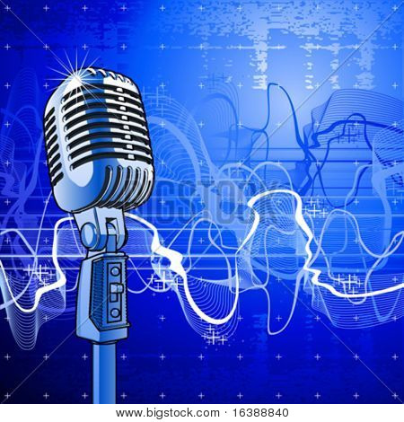 Professional microphone in beams of blue light & sound wave