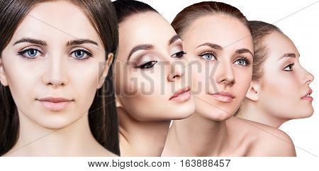Collage of perfect faces of beautiful woman's isolated on white background