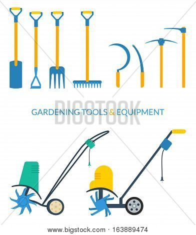 Vector set of gardening tools and equipment: ditch or post spade hoe pitchfork rake sickle mattock pickaxe electric cultivator.
