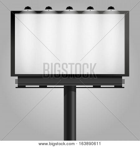 Billboard With Light Lamp Mock Up For Presentation Vector Illustration Eps 10