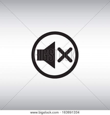 Isolated mute vector icon. Mute button flat sign. Sound off vector pictogram. Volume turn off menu icon.