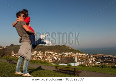young stylish couple in love with city view on background.