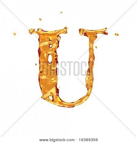 Liquid alcohol alphabet  - letter U - color of brandy , cognac, liquor, cola, beer or tea