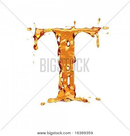 Liquid alcohol alphabet  - letter T - color of brandy , cognac, liquor, cola, beer or tea