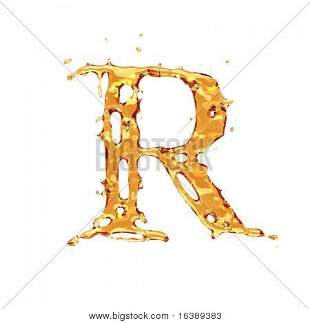 Liquid alcohol alphabet  - letter R - color of brandy , cognac, liquor, cola, beer or tea