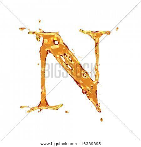 Liquid alcohol alphabet  - letter N - color of brandy , cognac, liquor, cola, beer or tea