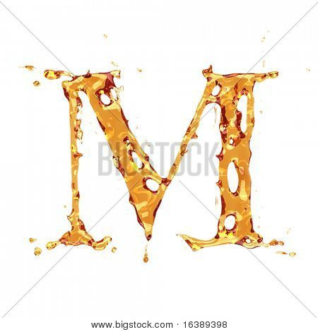 Flüssige Alkohol Alphabet - Buchstabe M - Farbe der Weinbrand, Cognac, Spirituosen, Cola, Bier oder Tee