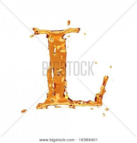 Liquid alcohol alphabet  - letter L - color of brandy , cognac, liquor, cola, beer or tea