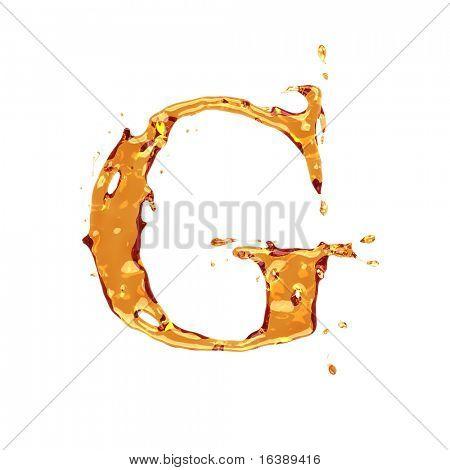 Flüssige Alkohol Alphabet - Buchstabe G - Farbe der Weinbrand, Cognac, Spirituosen, Cola, Bier oder Tee