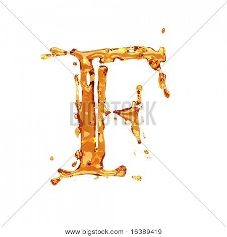 Liquid alcohol alphabet  - letter F - color of brandy , cognac, liquor, cola, beer or tea