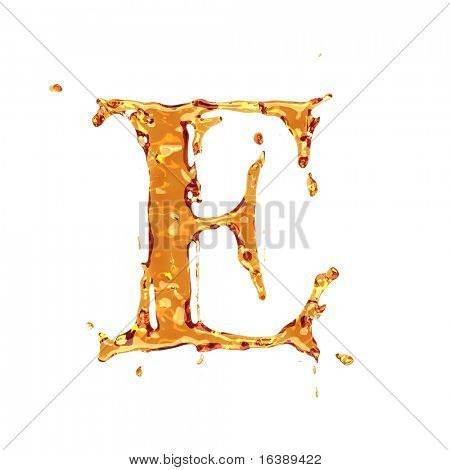 Liquid alcohol alphabet  - letter E - color of brandy , cognac, liquor, cola, beer or tea