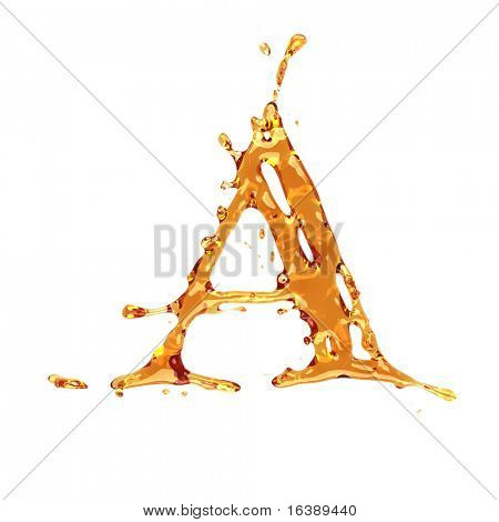 Liquid alcohol alphabet  - letter A - color of brandy , cognac, liquor, cola, beer or tea