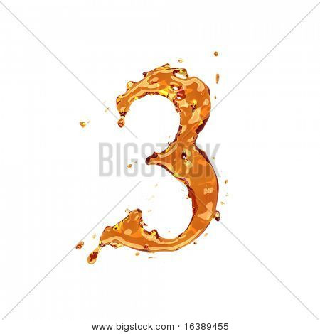 Flüssige Alkohol Alphabet - Ziffer 3 - Farbe der Weinbrand, Cognac, Spirituosen, Cola, Bier oder Tee