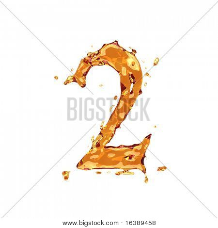Liquid alcohol alphabet  - digit 2 - color of brandy , cognac, liquor, cola, beer or tea