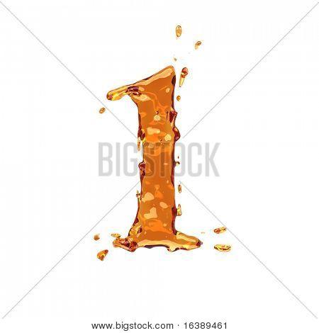 Liquid alcohol alphabet  - digit 1 - color of brandy , cognac, liquor, cola, beer or tea
