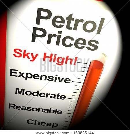 Petrol Prices Sky High Monitor 3D Rendering