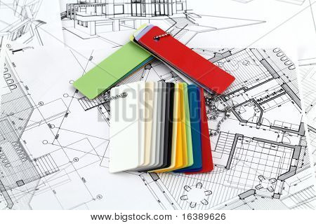 symbolic representation of the house, laid out a colored plastics for furnishing of architectural drawings cottage