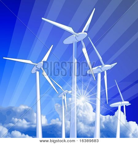 Ecology concept: wind-driven generators, rays of light & blue sky