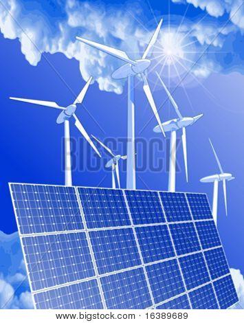 Concepto de ecología: generadores eólicos, sistemas de energía solar & cielo azul