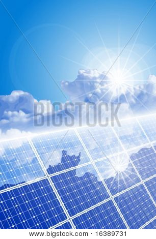 Ð¡lear sky, bright sun and solar panel with reflection of clouds. Eps10
