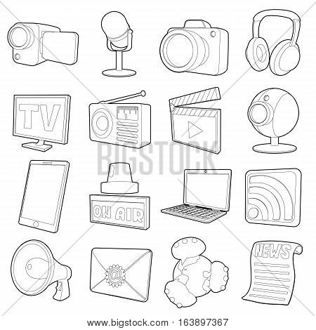 Media channels icons set. Cartoon illustration of 16 media channels vector icons for web