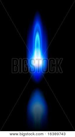 blue Flame ein brennendes Erdgas und Reflexion auf schwarzem Hintergrund - vector EPS10