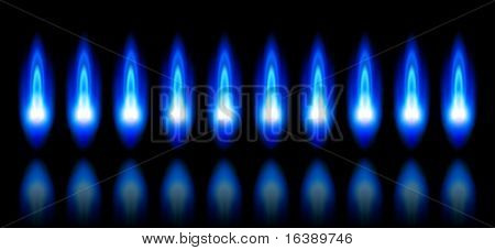 blue flames of a burning natural gas and reflection on black background - vector EPS10
