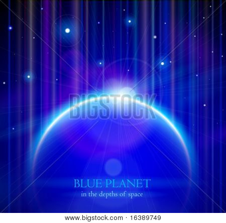 Blue Planet Earth with Rising Sun, Stars & Color Space - vector EPS10