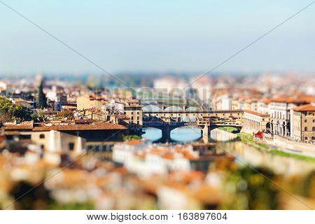 Ponte Vecchio, Florence, Italy. Miniature Tilt Shift Lens Effect.