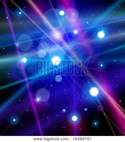 Color the universe - stars, nebulae and the rays of light in space. Vector illustration