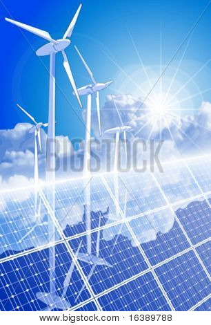 Ecology concept: wind-driven generators, solar power systems & blue sky