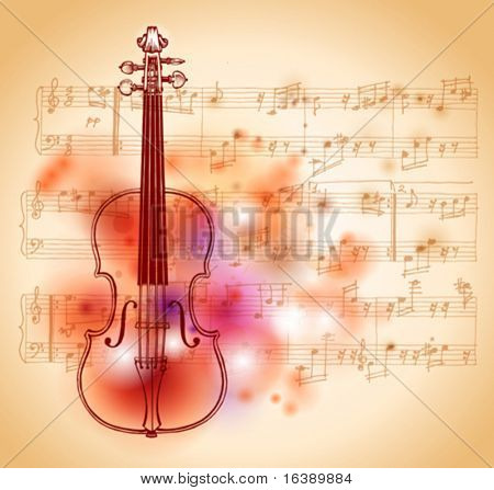 drawing on watercolor background of violin and sheet music - Original design