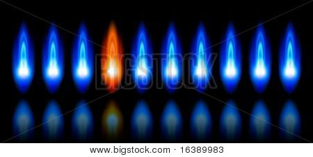 blue & red flames of a burning natural gas and reflection on black background - vector EPS10
