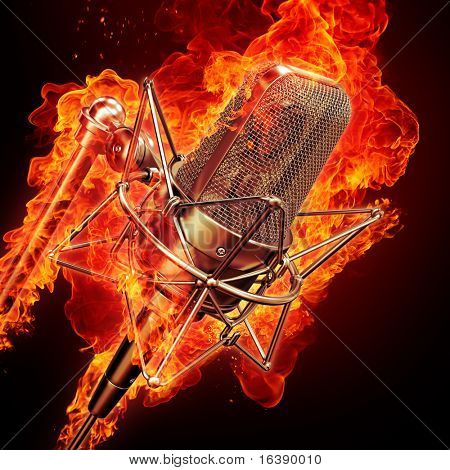 professional studio microphone & fire
