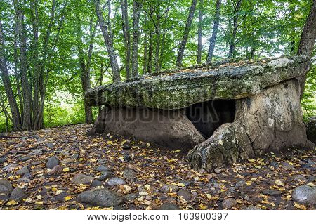 Ancient portal dolmen standing in scenic forest