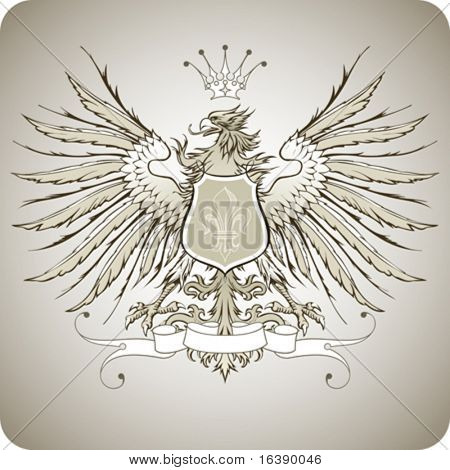 Vintage heraldic emblem ( eagle, crown & ribbon, shield & lily )