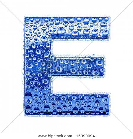 Blue ice alphabet symbol - letter E. Water splashes and drops on glossy metal. Isolated on white