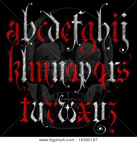 Skizze gotisches Alphabet & Skull Skizze