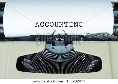 Accounting word on paper with typewriter concept