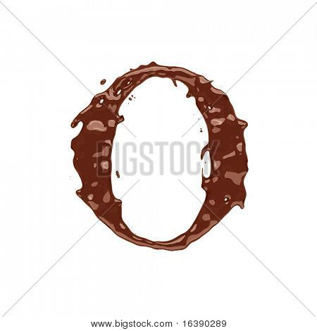 Chocolate letter O isolated on white background