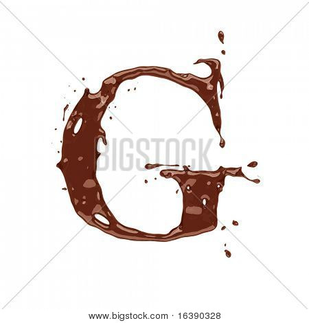 Chocolate letter G isolated on white background