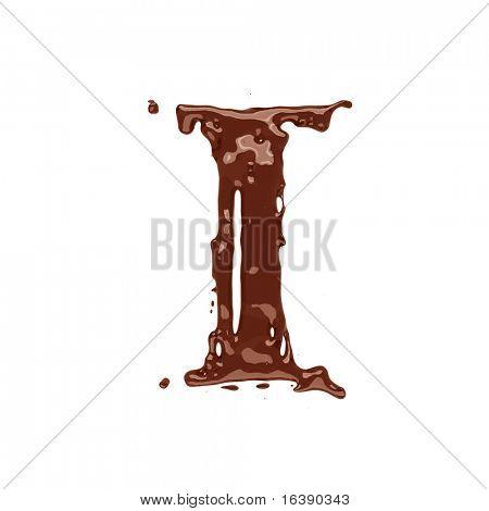 Chocolate letter I isolated on white background