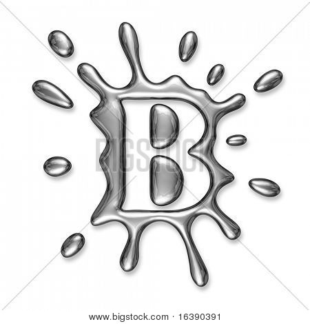 Liquid metal letter B - alphabet symbol isolated on a white background