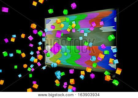 3d illustration of a flat tv isolated on black background