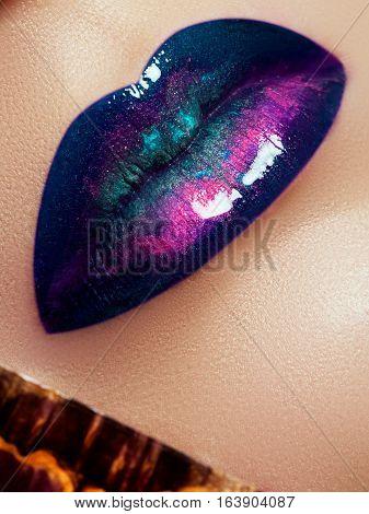 Closeup Of Beautiful Full Woman's Lips With Bright Fashion Gloss Makeup