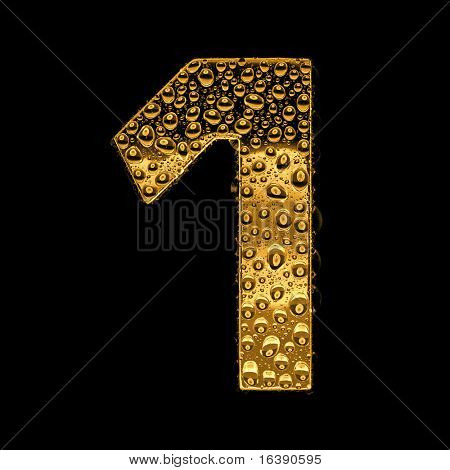 Gold metal three-dimensional alphabet symbol - digit 1. Covered with drops of clear water on glossy metal. Isolated on black