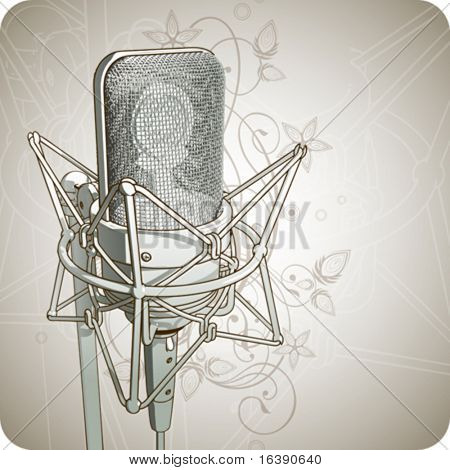 Professional Microphone & floral ornament - vector