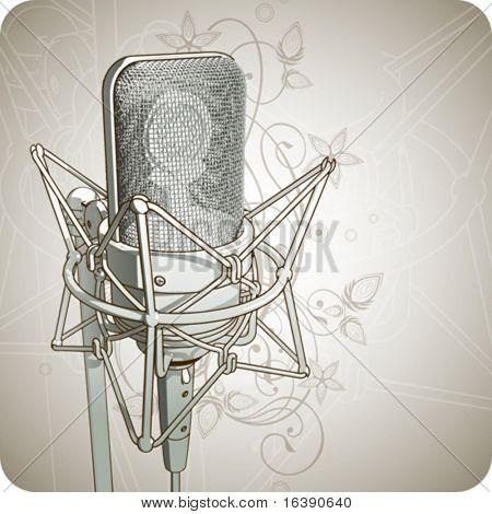 Professionelle Mikrofon & floral Ornament - Vektor